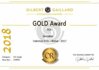 Gilbert Gaillard 2018 Gold Award to Marsilea Bobal