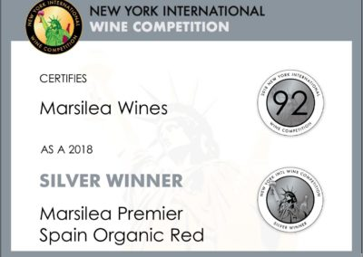New York International Wine Competition 2018 Silver winer to Marsilea Bobal